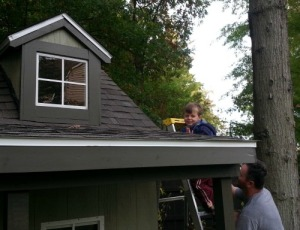 helping Dad roof the new playhouse