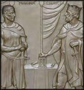 King John of England (right) and an English baron agreeing to Magna Carta King John of England (right) and an English baron agreeing to Magna Carta. A detail from the bronze doors of the U.S. Supreme Court building, Washington, D.C. Credit: Image courtesy of the U.S. Supreme Court.