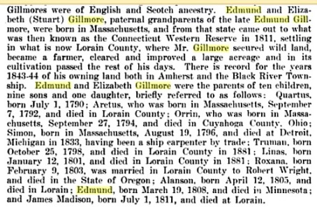 Pioneer Edmund Gillmorees