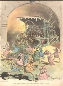 """The Evil Spirts of the Modern Day Press"". Puck US magazine 1888; Nasty little printer's devils spew forth from the Hoe press in this Puck cartoon of Nov. 21, 1888."