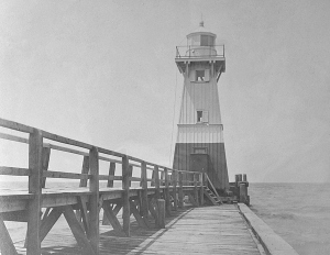 Pier head light placed on pier in 1875 Photograph courtesy National Archives